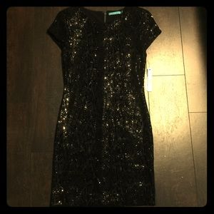 NWT Alice+Olivia Black Sequin Dress Size 6